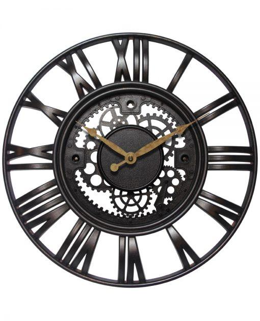 Black Roman Gear Large Wall Clock kitchen