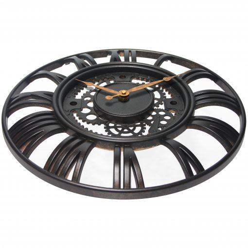 wall clock brown rustic gear