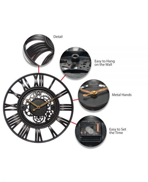 roman gear wall clock features