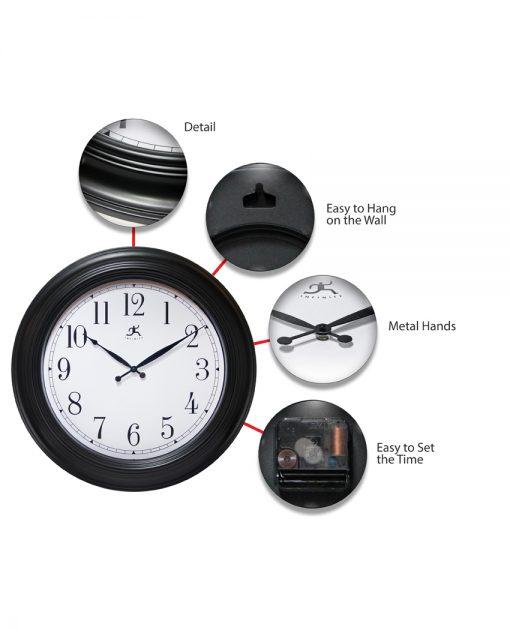 classic black 24 inch wall clock large