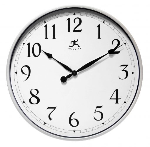Large Round Wall Clock Silver kitchen
