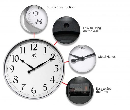 features of silver office wall clock 18 inch