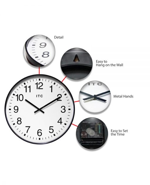 black wall clock profuse features 20 inch