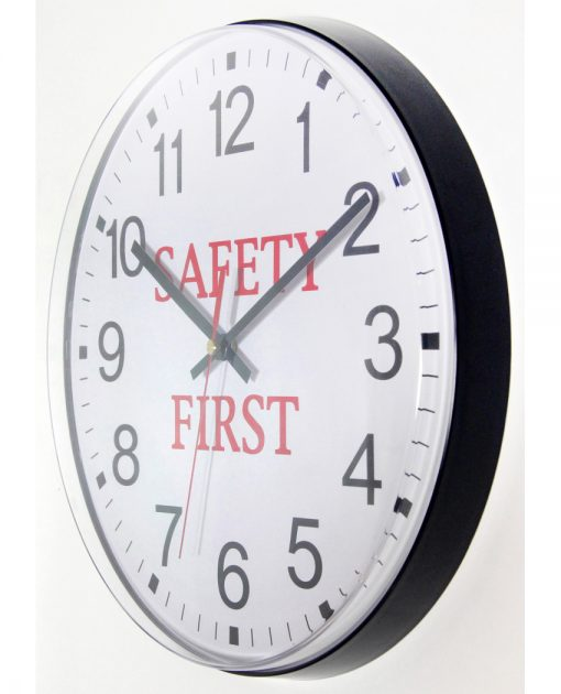 safety first from left side office warehouse wall clock 12 inch