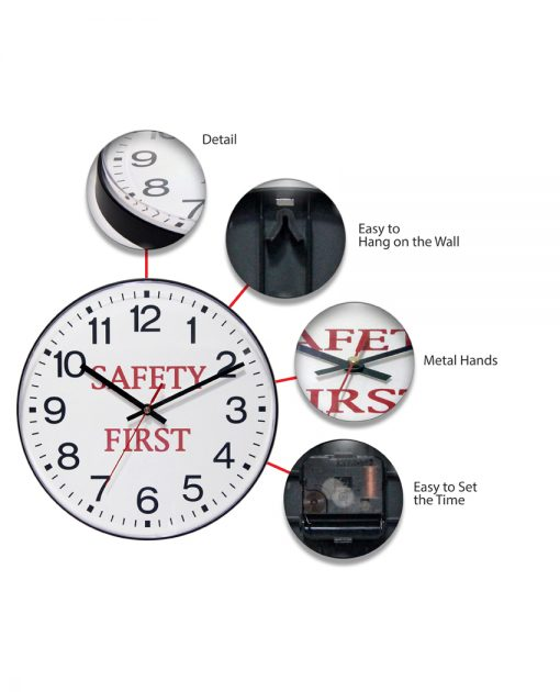 safety first features wall clock 12 inch