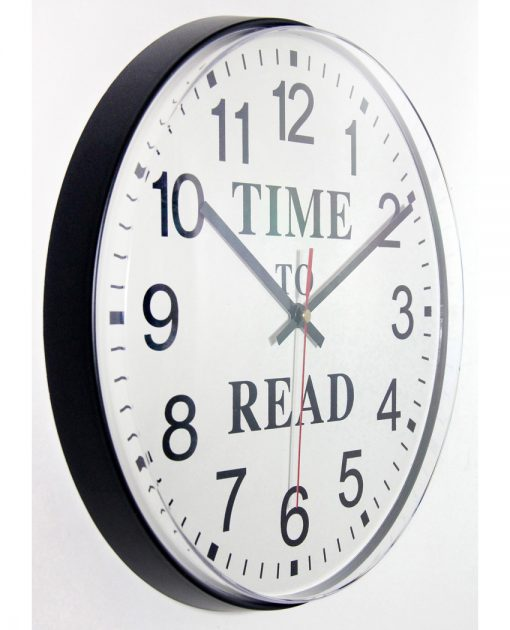 from right side time to read black wall clock 12 inch
