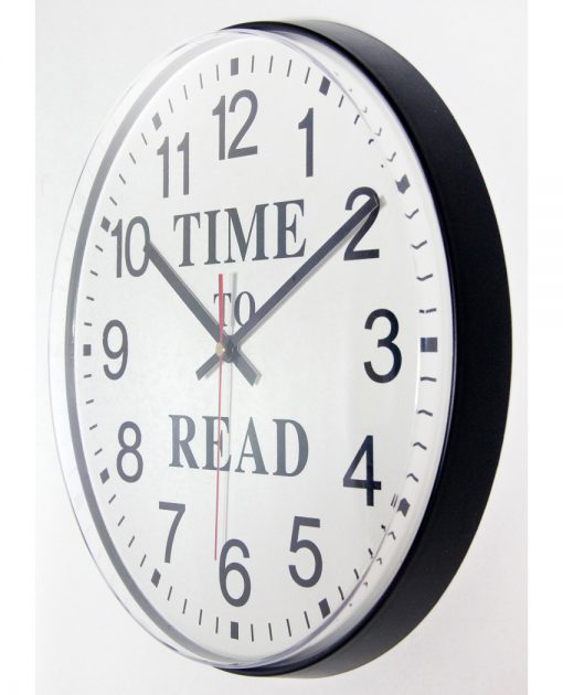 from left side time to read black wall clock 12 inch