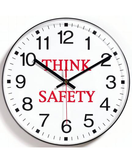 14529Bk3558 think safety wall clock