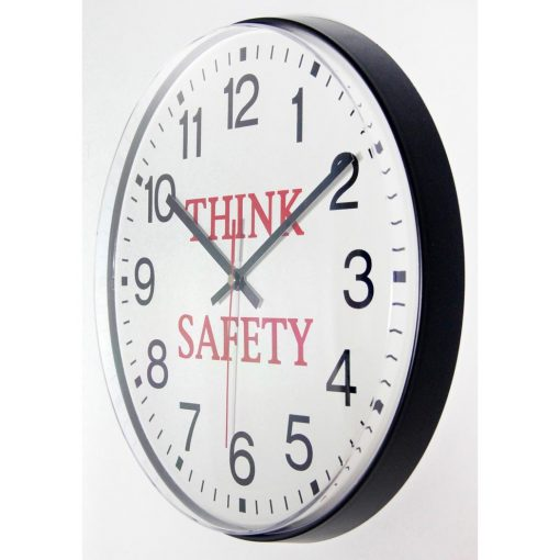 think safety black resin wall clock 12 inch from left side