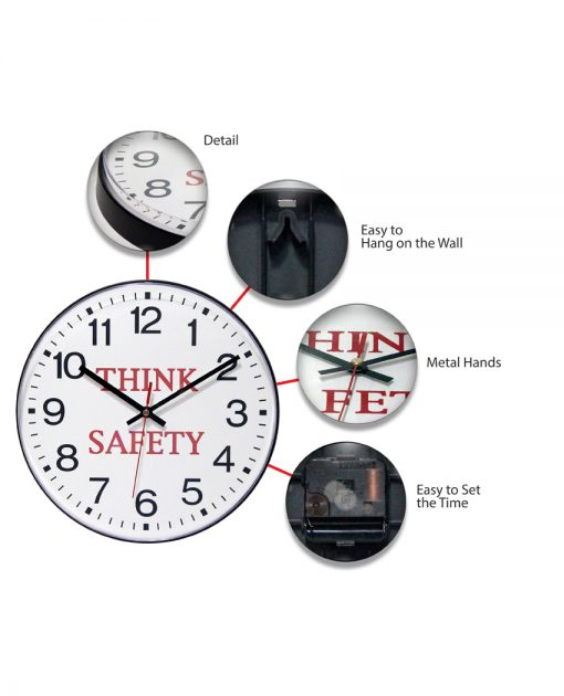 think safety wall clock features 12 inch