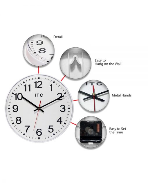 12 inch prosaic white wall clock large easy to read