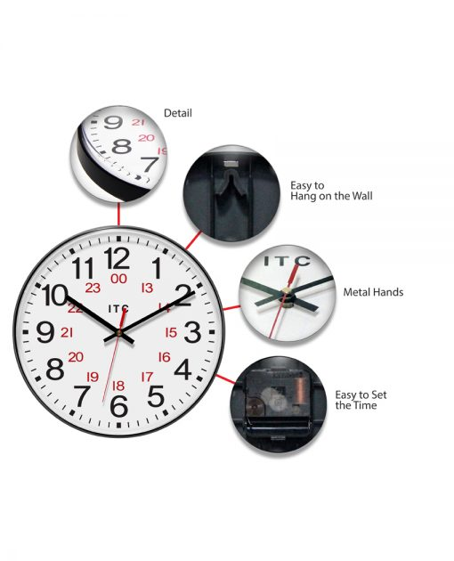 features of prosaic brown wall clock 12 inch