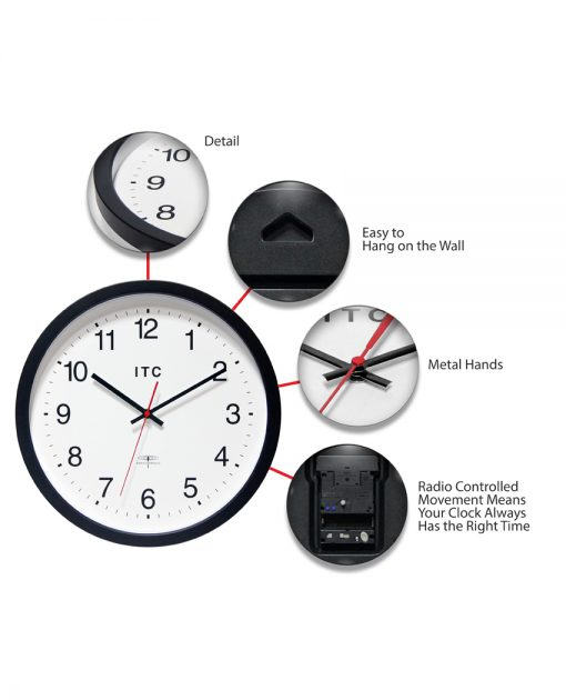 features of time keeper brown resin wall clock 14 inch
