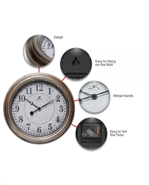 features of aged silver and gold wall clock