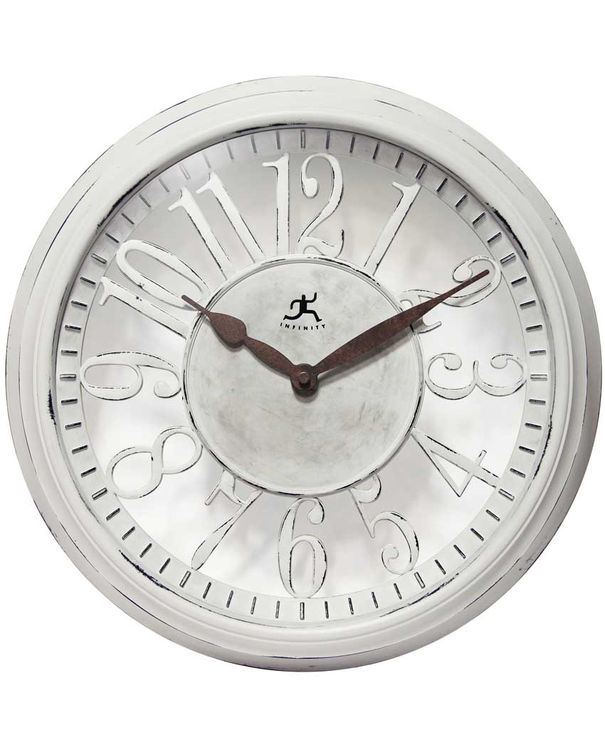 15 inch Chalet; a White Resin Wall Clock