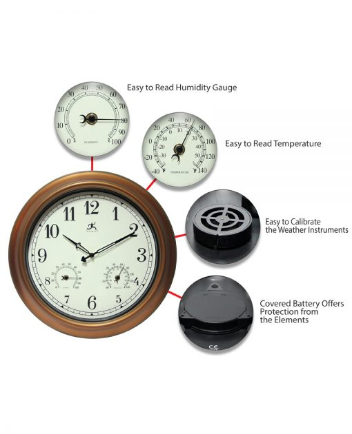 features of craftsman gold steel wall clock 18 inch