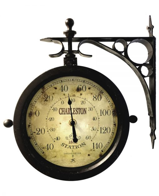 charleston black steel wall clock thermometer antique