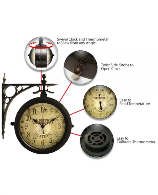 features of charleston black steel wall clock 12 inch