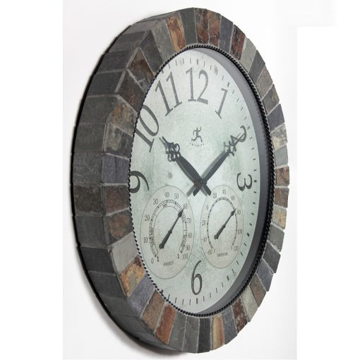 from right side inca brown slate wall clock 18 inch temperature thermometer hygrometer humidity