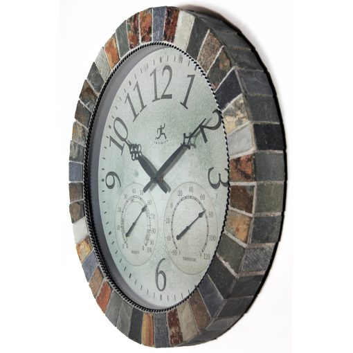 brown slate indoor outdoor wall clock from left side thermometer