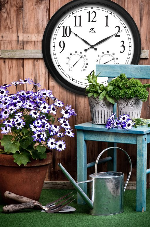 indoor outdoor wall clock temperature thermometer hygrometer humidity wall clock large 24 inch