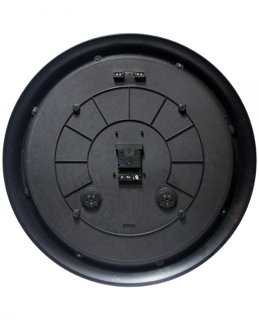 back of definitive indoor outdoor black clock with thermometer