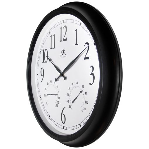 from left side definitive black indoor outdoor black wall clock thermometer humidity temperature hygrometer clock time 24 inch large