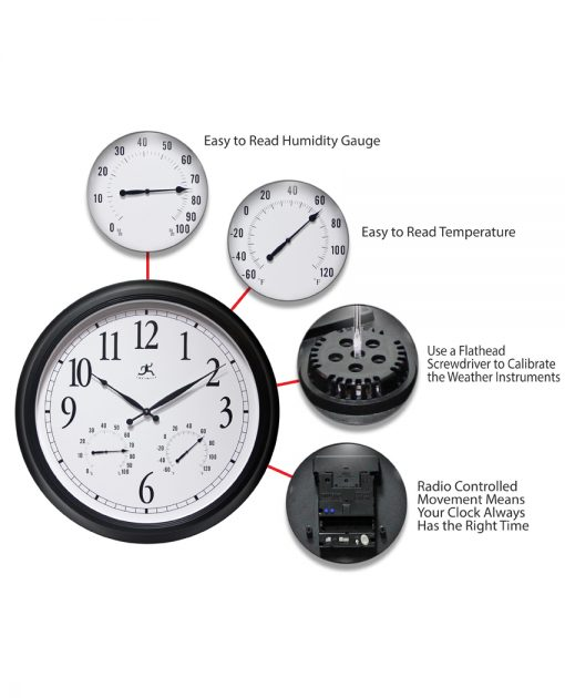 features of definitive black wall clock large 24 inch