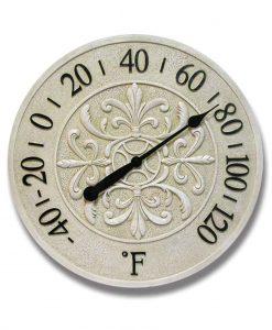 15 inch Blanc Fleur; White Polyresin Wall Clock