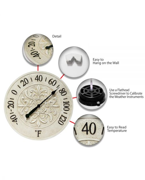 features of blanc fleur white thermometer wall temperature 15 inch