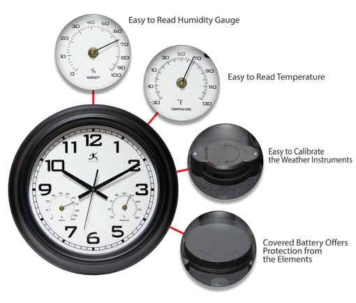 features of garden black steel wall clock 18 inch thermometer temperature hygrometer humidity