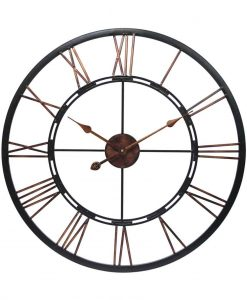 Metal 24 Hour Dark Grey Metal and Wood Wall Clock