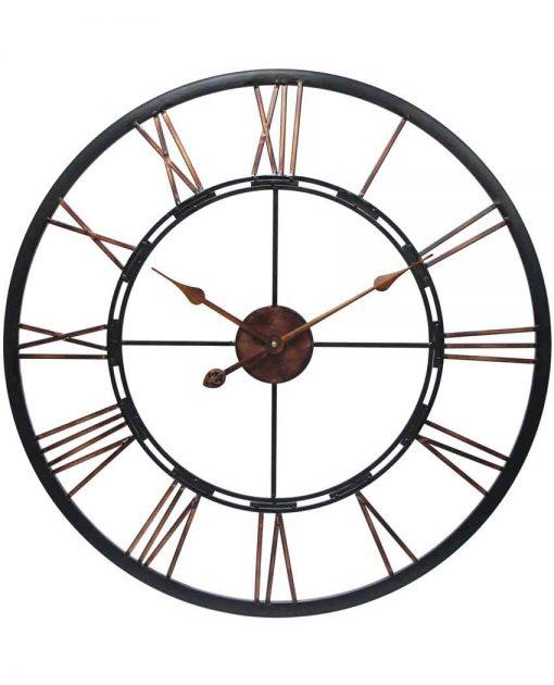 Metal 24 Hour Dark Grey Metal and Wood Wall Clock