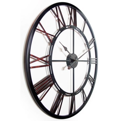 from right side metal fusion black steel wall clock