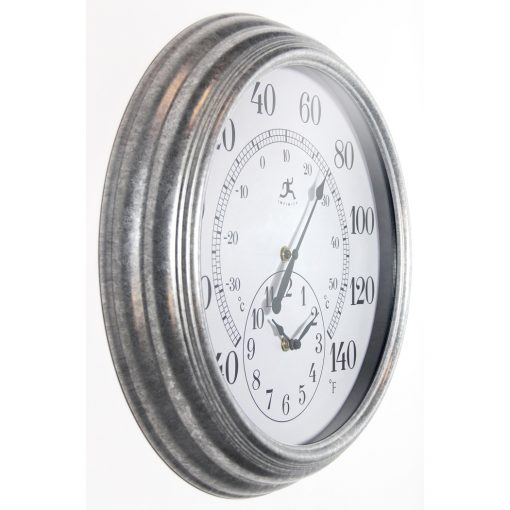 from right side prague gray steel wall clock 16 inch