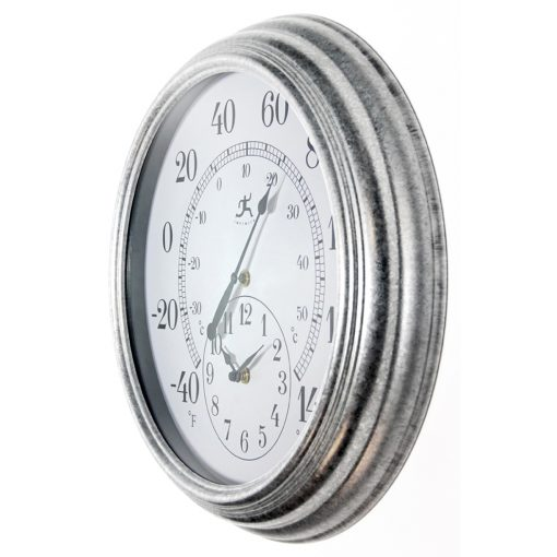 from left side prague gray steel wall clock 16 inch
