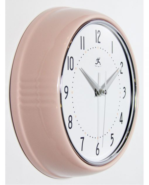 from right side retro pink wall clock
