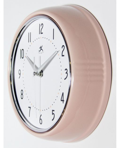 from left side retro pink wall clock