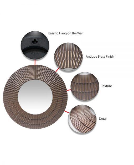 circle brown brass wall mirror round circular