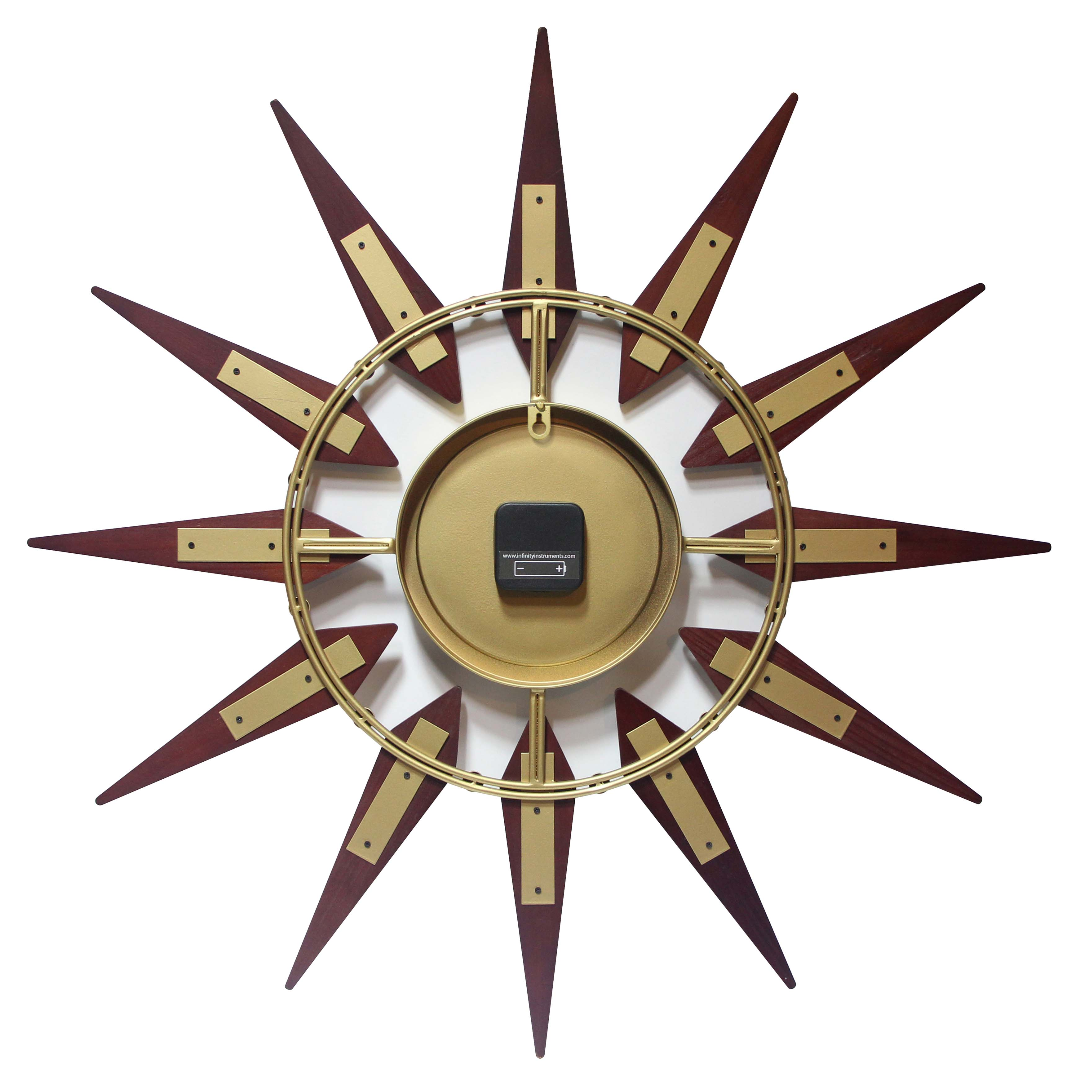 Image of: 30 Inch Orion Midcentury Walnut Metal Wood Wall Clock Clock By Room
