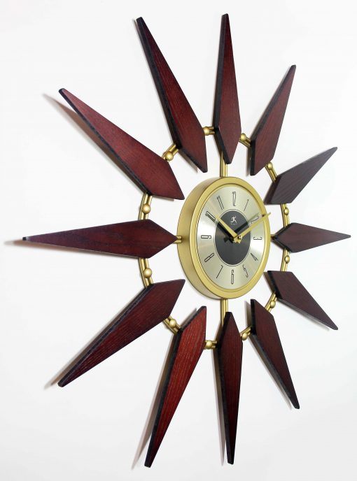 mid century modern walnut wall clock 30 inch from right side