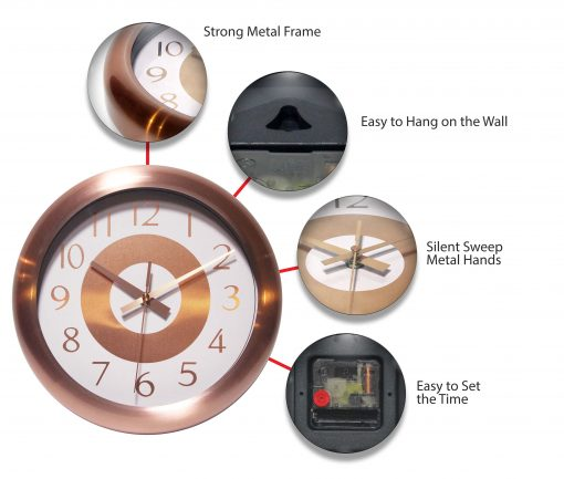 features of copper wall clock classic 10 inch
