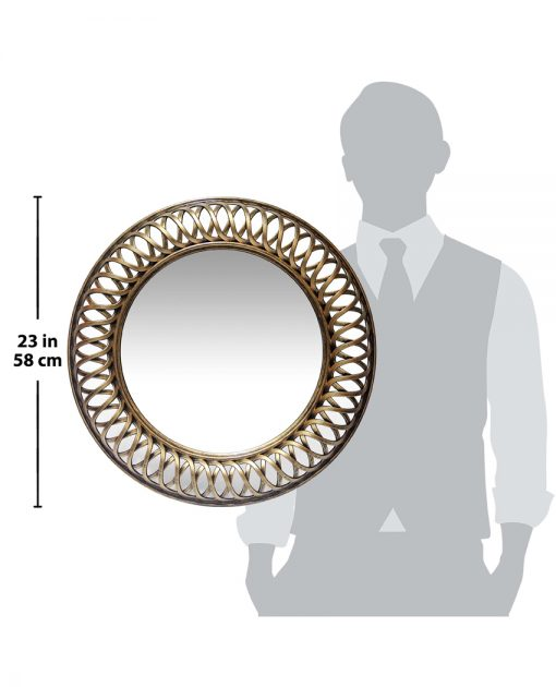 for scale gold lattice round wall mirror