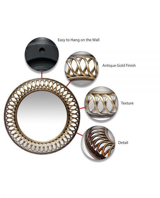 features of lattice gold round mirror 22 inch