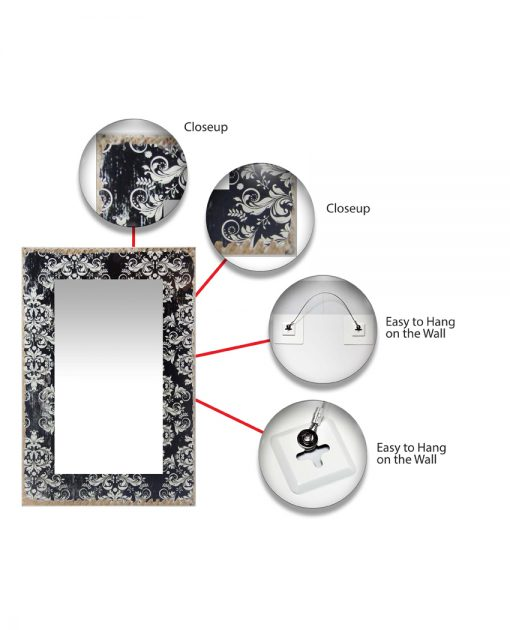 features of damask french country wall mirror