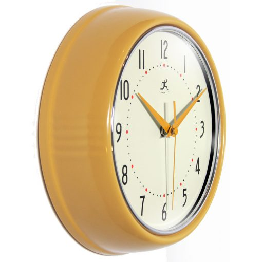 9.5 inch SaffrYellow Aluminum Wall Clock retro circle round