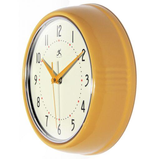 Saffron Yellow Aluminum Wall Clock retro circle round