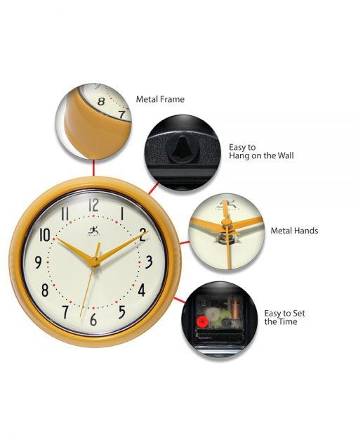 Saffron Yellow Aluminum Wall Clock retro circular