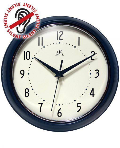 Blue Aluminum Wall Clock retro circular