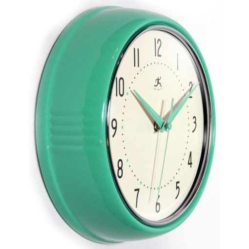 from right side retro turquoise wall clock 9.5 inch